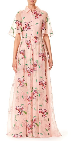 Carolina Herrera Floral-Embroidered Button-Front Short-Sleeve Evening Gown in pink pattern - Carolina Herrera evening gown in floral-embroidered...