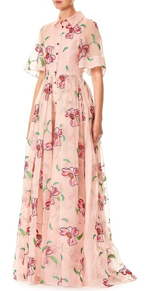 CAROLINA HERRERA floral silk gown - Organza embroidered floor-length silk gown in...