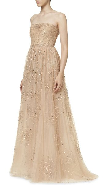 Carolina Herrera galaxy evening gown in nude - Radiant sequins adorn this strapless evening gown....