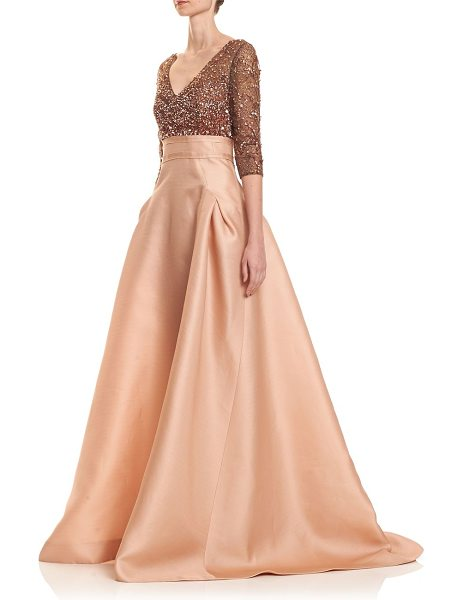 Carolina Herrera sequin bodice gazar gown in nude - Dramatic floor-sweeping gown topped with sequined...