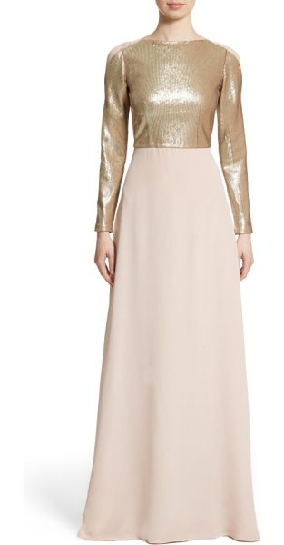 Carolina Herrera sequin front a-line silk gown in blush - Carolina Herrera brings a new sleekness to her...