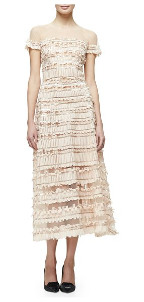 CAROLINA HERRERA Short-Sleeve Tulle-Embroidered Midi Dress - Carolina Herrera embroidered-tulle dress with fringe...