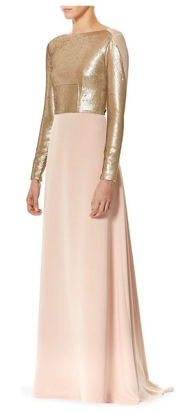 Carolina Herrera silk sequin velvet bow gown in light pink - Silk sequin embellished gown with velvet bow accents....
