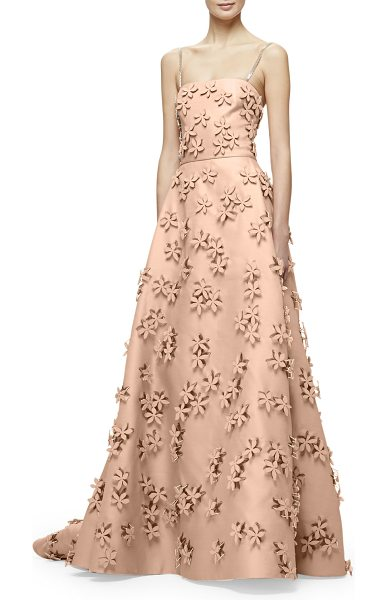 Carolina Herrera Sleeveless 3D Floral-Embellished Gown in nude - Carolina Herrera stretch-woven gazaar gown with allover...