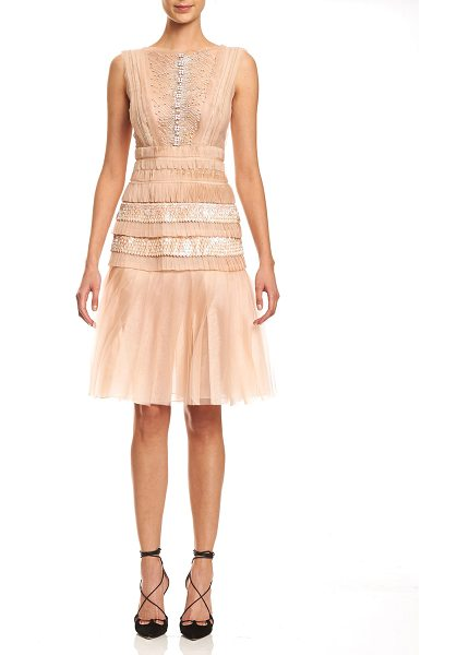 Carolina Herrera Sleeveless Bateau-Neck Embroidered Dress in powder pink - Carolina Herrera embroidered organza dress. Bateau...