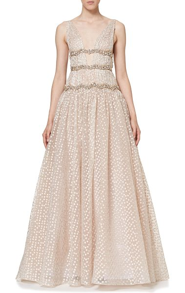 Carolina Herrera Sleeveless V-Neck Crystal-Waist Gown in rose gold - Carolina Herrera Swiss-dot gown with crystal-embellished...