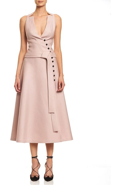 Carolina Herrera Sleeveless Wrap A-line Midi Dress in powder pink - Carolina Herrera wool-blend midi dress. Notched V...