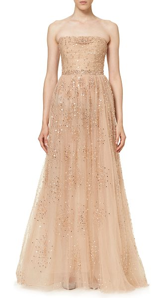 CAROLINA HERRERA Star-Embellished Strapless Gown in nude - Carolina Herrera star-embellished tulle gown. Straight,...