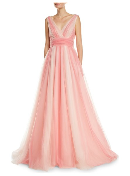 Carolina Herrera V-Neck Belted Ombre-Tulle A-Line Gown in pink pattern - EXCLUSIVELY AT NEIMAN MARCUS Carolina Herrera gown in...