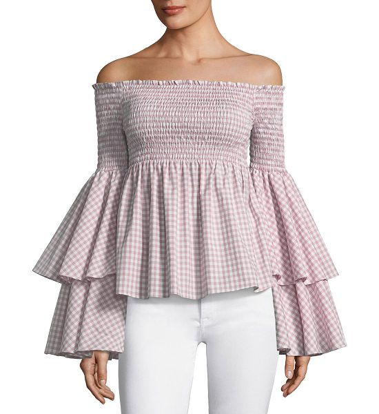 "Caroline Constas Appolonia Off-the-Shoulder Bell-Sleeve Check-Print Top in pink - Caroline Constas ""Appolonia"" check-print top...."