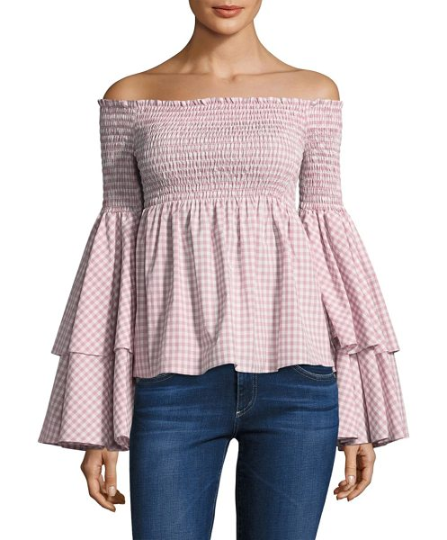 Caroline Constas appolonia bell-sleeve flounce smocked top in blush - Feminine details update classic menswear shirting....