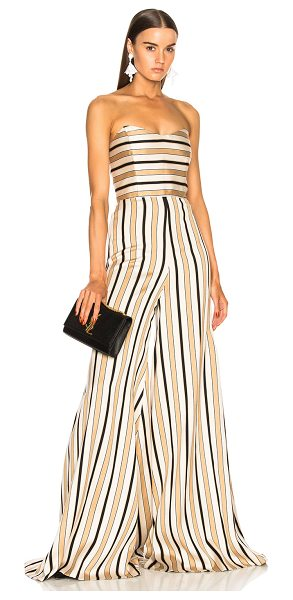 Caroline Constas Forbes Jumpsuit in neutral,stripes - 66% viscose 26% poly 8% polyamide.  Made in USA.  Dry...