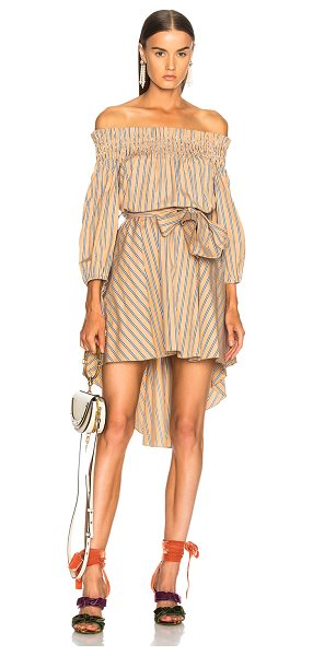 Caroline Constas Lou Dress in neutrals,stripes