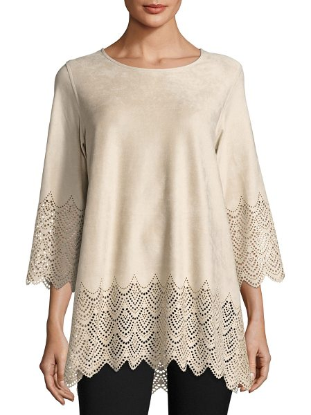 Caroline Rose Laser-Cut Faux-Suede Tunic in natural - Caroline Rose faux-suede (polyester/spandex) tunic with...
