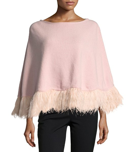 Carolyn Rowan Cashmere Poncho w/ Ostrich Feather Trim in light pink - Carolyn Rowan knit poncho in cashmere. Scalloped hem...