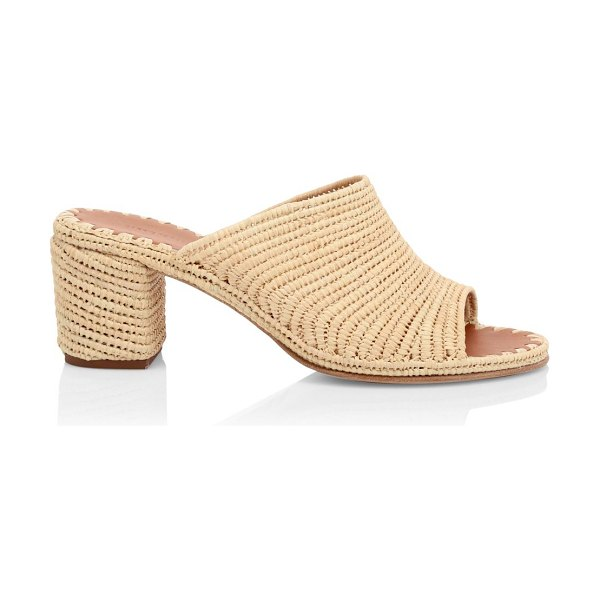 CARRIE FORBES rama raffia straw block heel sandals in natural