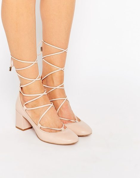 CARVELA KURT GEIGER Aid nude suede ghillie lace up kitten heel shoes - Shoes by Carvela, Real leather upper, Lace-up fastening,...
