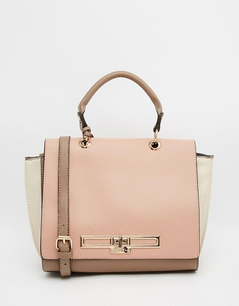 Carvela Kurt Geiger Color block tote bag in pink comb - Cart by Carvela Leather-look outer Fold over flap Color...