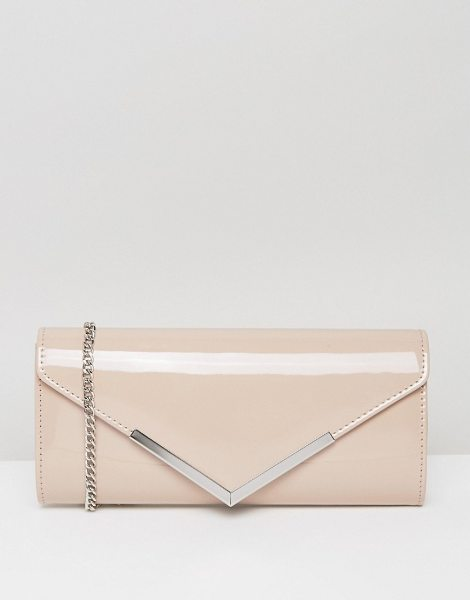 CARVELA KURT GEIGER Daphne Rectangular Envelope Clutch in cream - Clutch bag by Carvela, Smooth faux-leather outer, Cross...