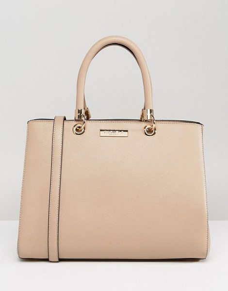 Carvela Kurt Geiger Darla Structured Tote Bag in cream - Cart by Carvela, Faux-leather outer, Fully lined, Twin...
