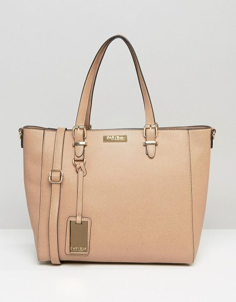 Carvela Kurt Geiger dina winged tote bag in nude - Cart by Carvela, Faux-leather outer, Fully lined, Twin...