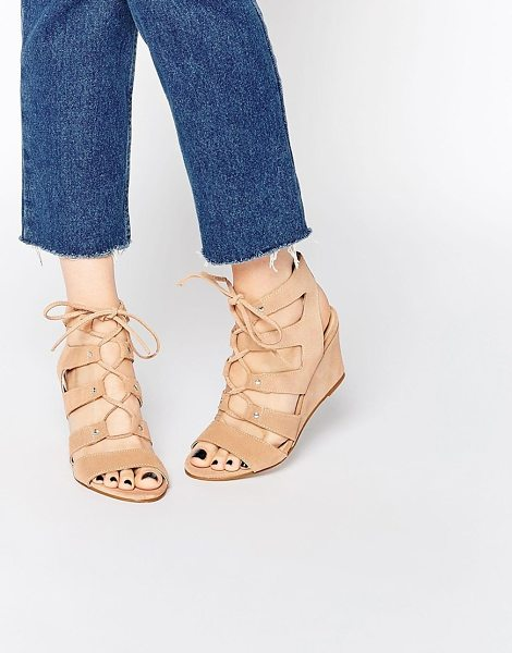 Carvela Kurt Geiger Khristie nude wedge sandal in nude - Wedges by Carvela, Suede upper, Lace-up closure, Open...