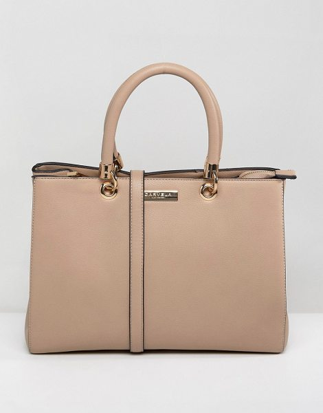 Carvela Kurt Geiger dina winged tote bag in bone - Cart by Carvela, Smooth faux-leather, Lined design, Twin...