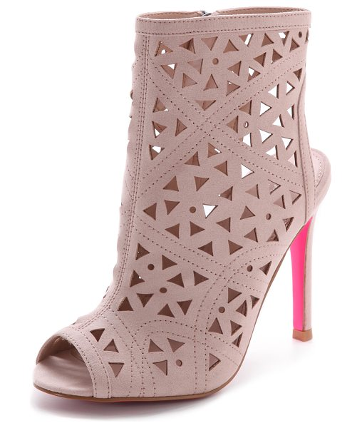 Carvela Kurt Geiger Gabby perforated booties in nude - A geometric pattern of laser cut perforations adds...