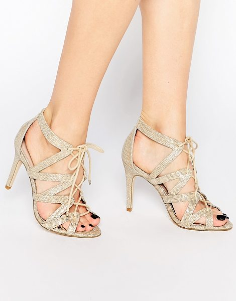 "CARVELA KURT GEIGER Luck Ghillie Heeled Sandals - """"Shoes by Carvela, Metallic gold-tone textile upper,..."