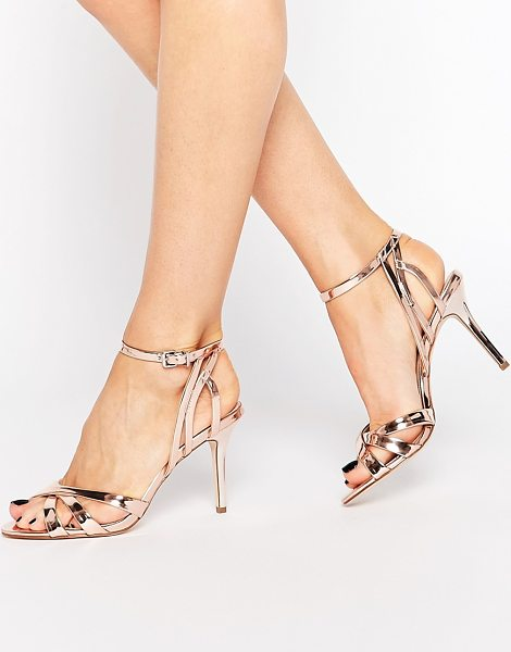 Carvela Kurt Geiger Lyra High Heeled Sandals in gold - Shoes by Carvela, Leather-look upper, Metallic finish,...