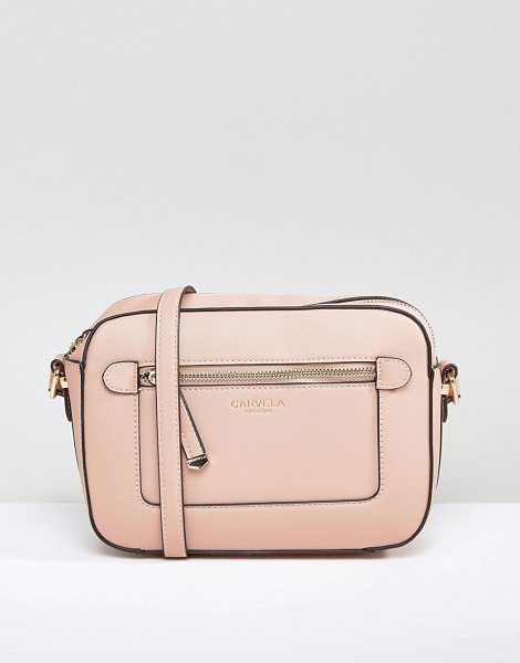 Carvela Kurt Geiger Mia Crossbody Bag in pink - Cart by Carvela, Faux leather outer, Logo printed...