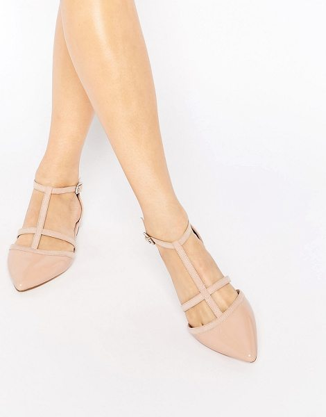 Carvela Kurt Geiger Mixx T Bar Flat Shoes in beige - Shoes by Carvela, Faux-suede upper, Patent leather-look...