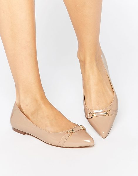 Carvela Kurt Geiger Moore Point Flat Shoes in beige - Shoes by Carvela, Leather-look upper, Glossy patent...