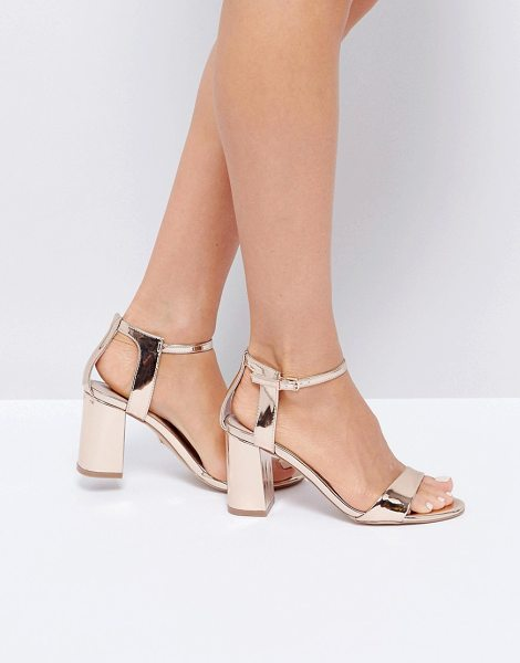 "CARVELA KURT GEIGER Rose Gold Heeled Sandals - """"Sandals by Carvela, Metallic upper, Ankle-strap..."