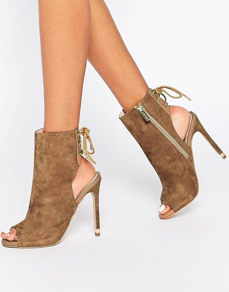 Carvela Kurt Geiger Taupe Suede Peep Toe Shoe Boot in tan - Heels by Carvela, Real suede upper, Peep toe, Lace-up...