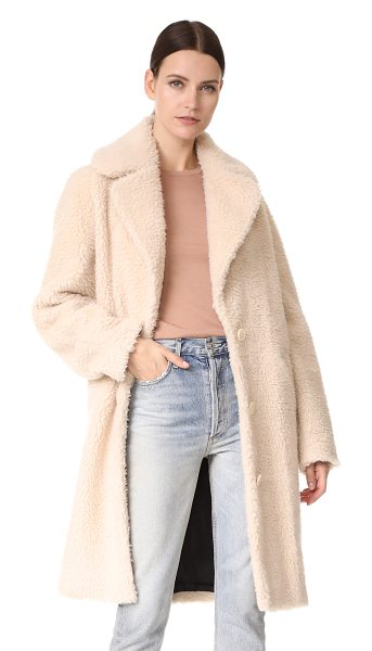 Carven faux shearling coat in nude - High-pile sherpa gives this Carven coat statement-making...
