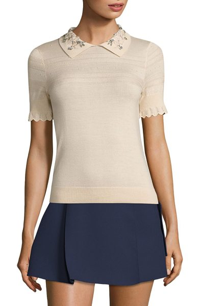 CARVEN jeweled collar top - Jeweled collar amplify this distinctively wool-blend...