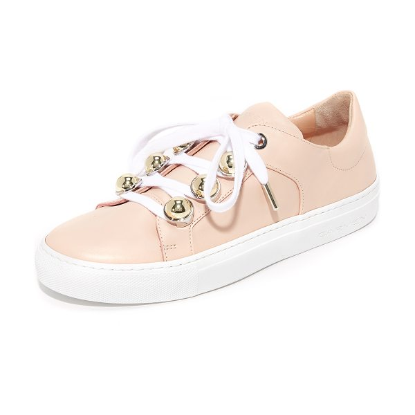 Carven lace up sneakers in nude - Polished, spherical studs update the lace-up closure on...