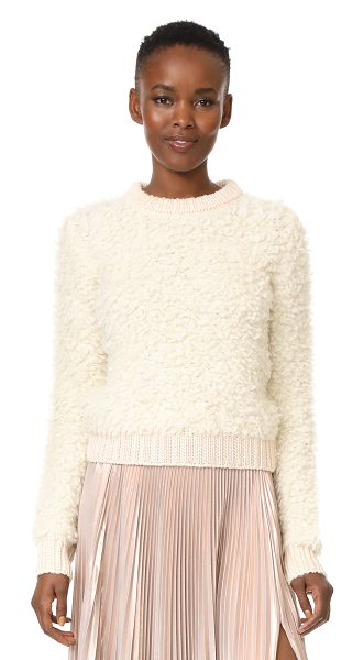 Carven long sleeve pullover in ecru - Soft, brushed loops lend rich texture to this cozy...