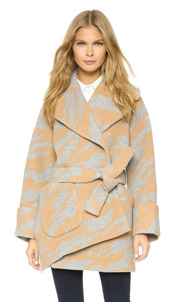 Carven Oversized coat in camel/grey - An off center placket and single patch pocket lend...