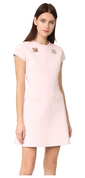 Carven plate yoke dress in rose pale - A piqué neoprene Carven dress makes a flirty, yet bold...