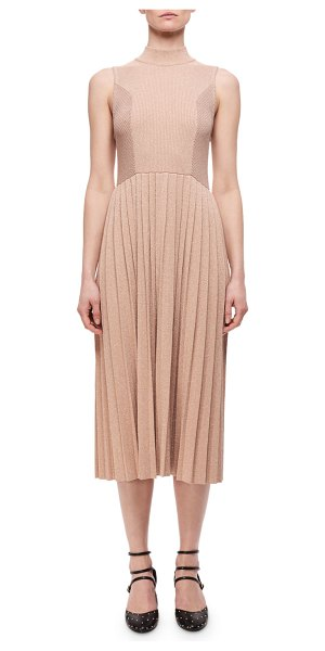 Carven Pleated Metallic Wool-Blend Sleeveless Dress in blush - Carven pleated dress in metallic wool-blend. Mock...