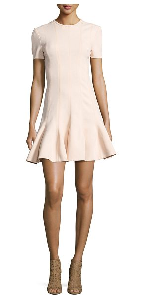 Carven Short Sleeve Mini Dress in beige - Carven crepe dress with flattering vertical-seam...