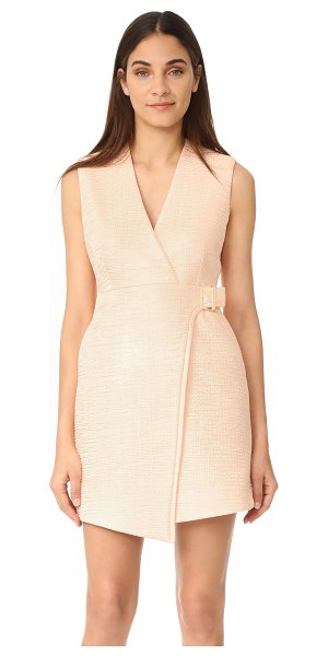 Carven v neck sleeveless dress in nude - Rippling puckers bring unique, tactile detail to this...