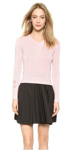 Carven V neck sweater in light pink - This feminine Carven sweater is detailed with a...