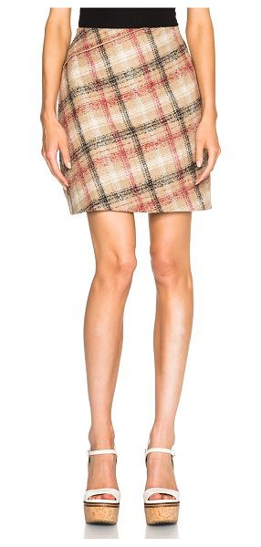 Carven Zipper mini skirt in neutrals,checkered & plaid - Self: 40% wool 22% poly 17% polyacrylic 12% alpaca 9%...