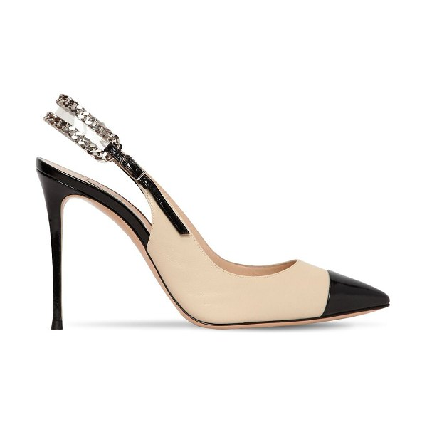 Casadei 100mm chained leather sling back pumps in beige,black