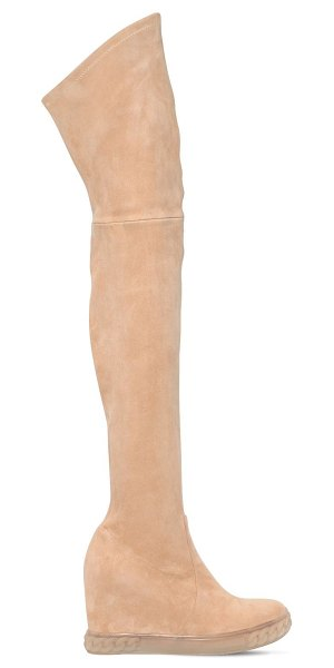 Casadei 100mm stretch suede over-the-knee boots in beige