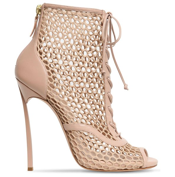 Casadei 120mm leather & mesh boots in nude