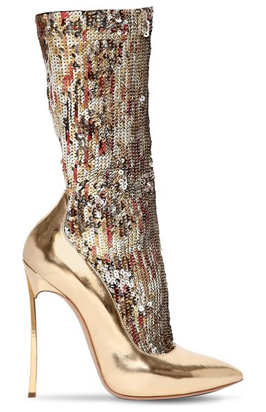 Casadei 120mm the party blade sequined boots in gold